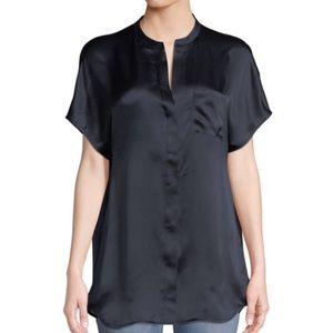 VINCE Dark Blue Silk Popover Short Sleeve Top S